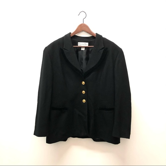 Vintage 1980's Christian Dior Wool Blazer Black